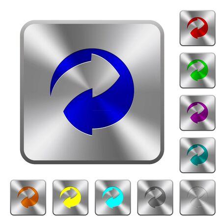 reciclable: iconos reciclables grabado en los botones redondos de acero cuadrados Vectores