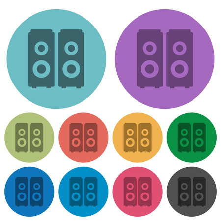 amplify: Color speakers flat icon set on round background.