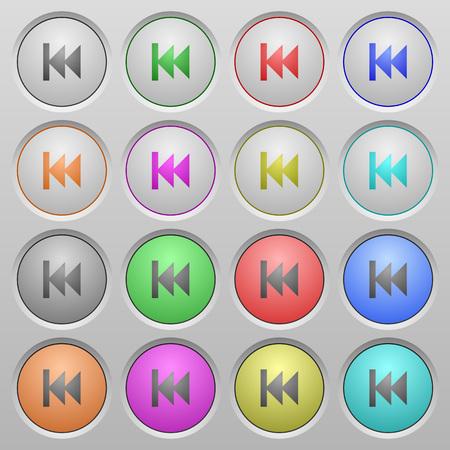 sunk: Set of Media fast backward plastic sunk spherical buttons. Illustration