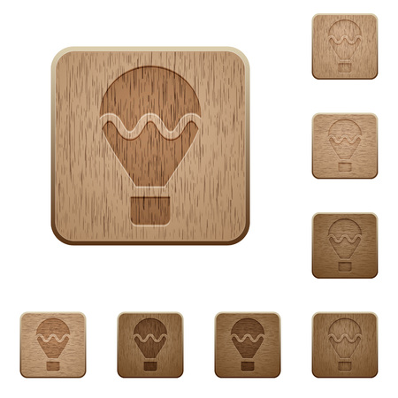 variations: Set of carved wooden Air balloon buttons in 8 variations.