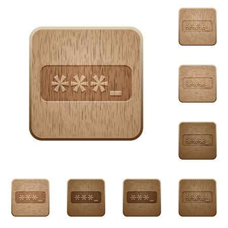 permissions: Set of carved wooden Password typing buttons in 8 variations. Illustration