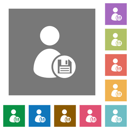 permissions: Save user profile flat icon set on color square background. Illustration
