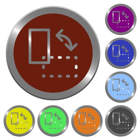 coinlike: Set of color glossy coin-like rotate element buttons.