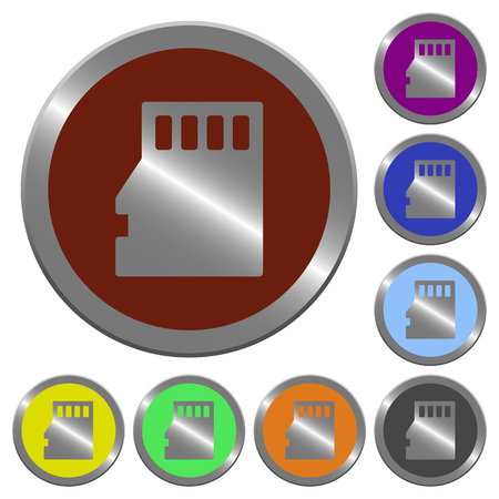 coinlike: Set of color glossy coin-like micro SD card buttons. Illustration