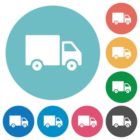 Ciężarówka z płaskim ikona dostawy ustawiony na okrągłym tle koloru. Ilustracje wektorowe