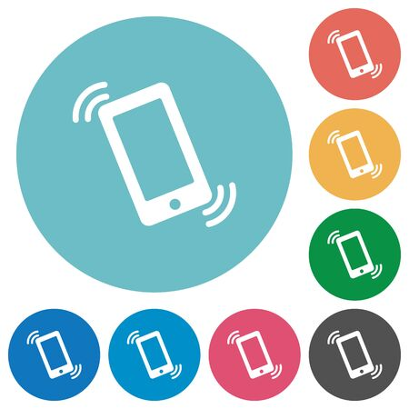 ringing: Flat ringing phone icon set on round color background.
