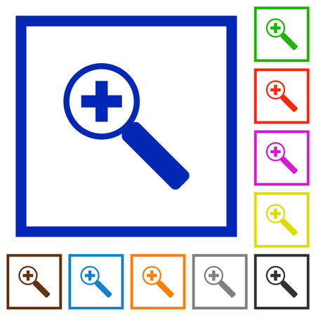 zoom in: Set of color square framed Zoom in flat icons on white background Illustration