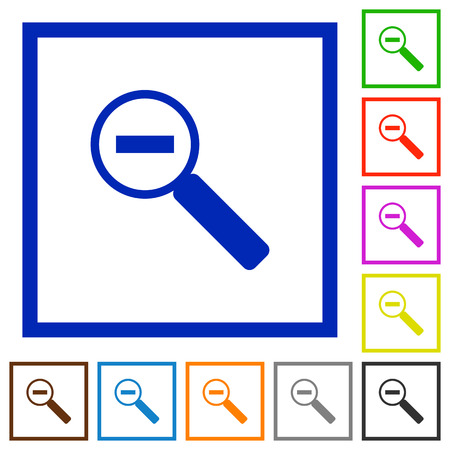 zoom out: Set of color square framed Zoom out flat icons on white background