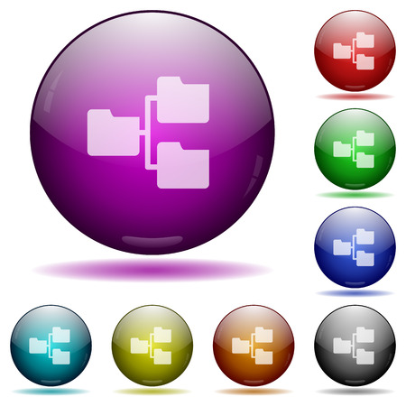 shared sharing: Set of color Shared folders glass sphere buttons with shadows. Illustration