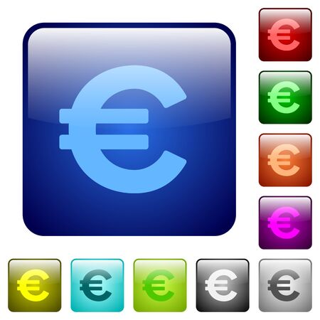 euro sign: Set of euro sign color glass rounded square buttons Illustration