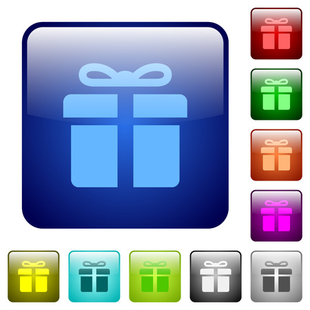 suprise: Set of gift color glass rounded square buttons