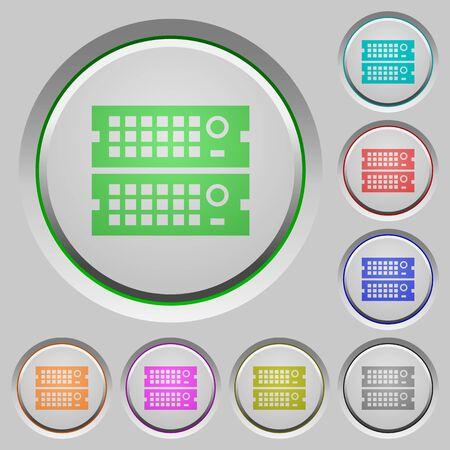 rack: Set of color Rack servers sunk push buttons.