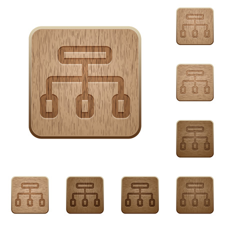 peers: Set of carved wooden network buttons in 8 variations.