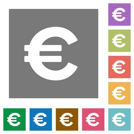 euro sign: Euro sign flat icon set on color square background.