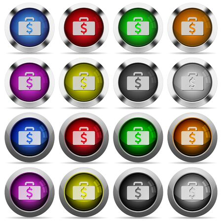 dollar bag: Set of Dollar bag glossy web buttons. Arranged layer structure. Illustration