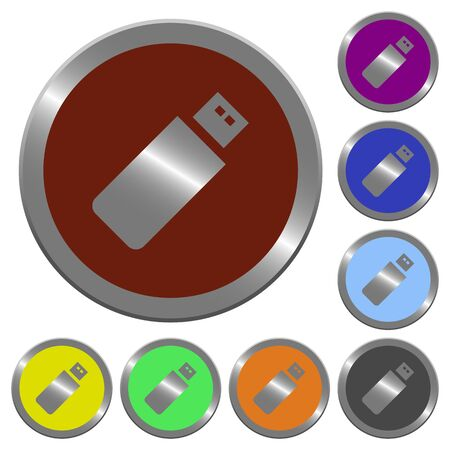 pendrive: Set of color glossy coin-like pendrive buttons. Illustration