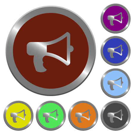 horn like: Set of color glossy coin-like megaphone buttons. Illustration