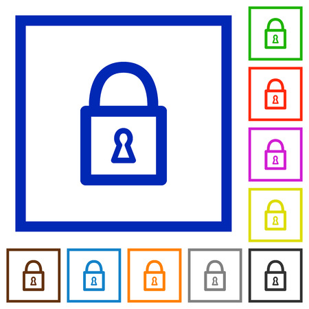 unaccessible: Set of color square framed Locked padlock flat icons on white background