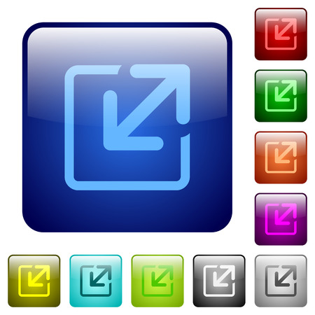 resize: Set of resize window color glass rounded square buttons Illustration