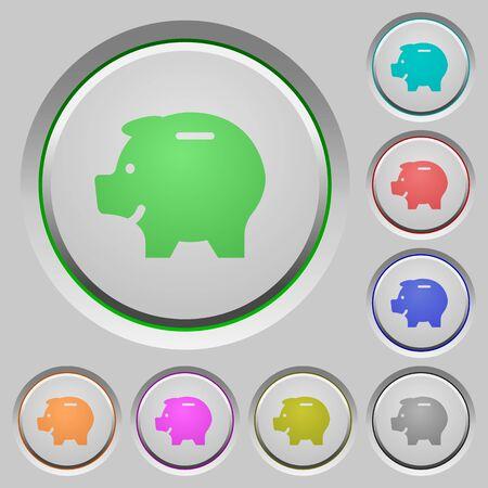 thrift: Set of color piggy bank sunk push buttons.