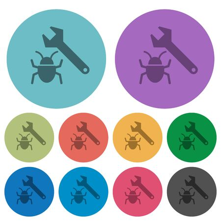 validating: Color bug fixing flat icon set on round background.