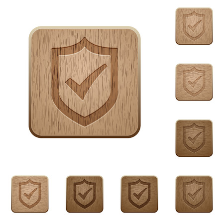 variations: Set of carved wooden Active shield buttons in 8 variations.