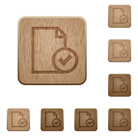 carved letters: Set of carved wooden Document accepted buttons in 8 variations. Illustration