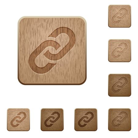 tree linked: Set of carved wooden link buttons in 8 variations. Illustration