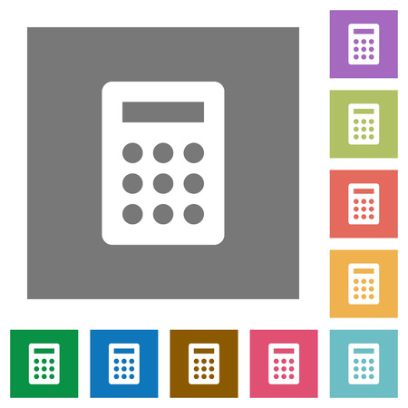 calc: Calc flat icon set on color square background. Illustration
