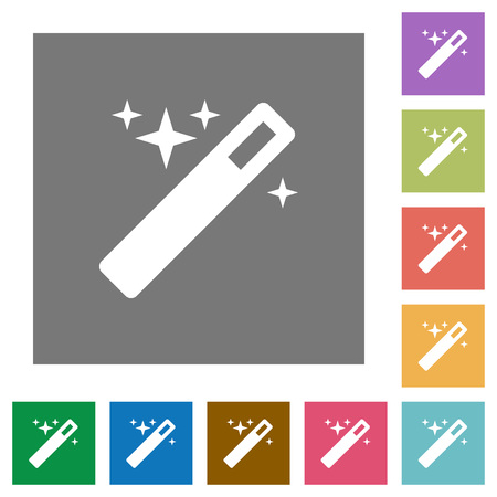 creativeness: Magic wand flat icon set on color square background.