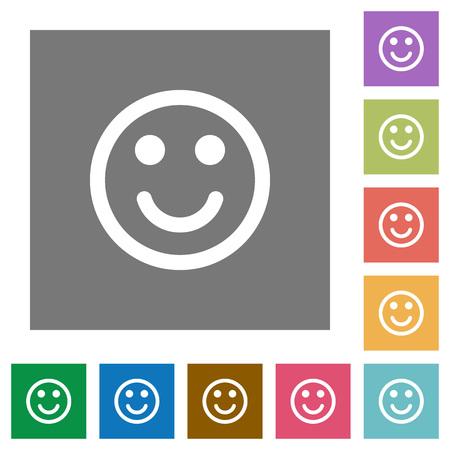 smilie: Smiley flat icon set on color square background.