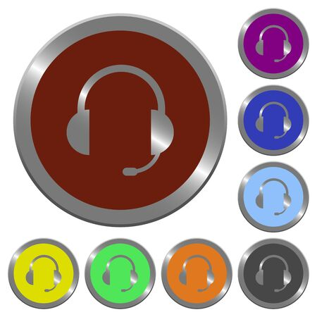 coinlike: Set of color glossy coin-like headset buttons.