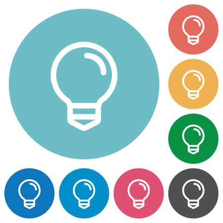 Flat light bulb icon set on round color background. Illustration