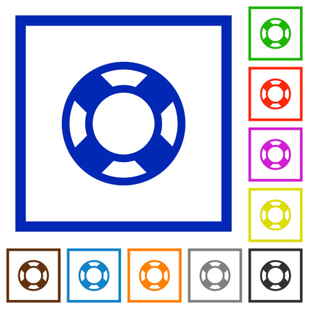 lifesaver: Set of color square framed lifesaver flat icons on white background Illustration