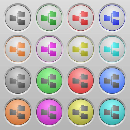 shared sharing: Set of shared folder plastic sunk spherical buttons. Illustration