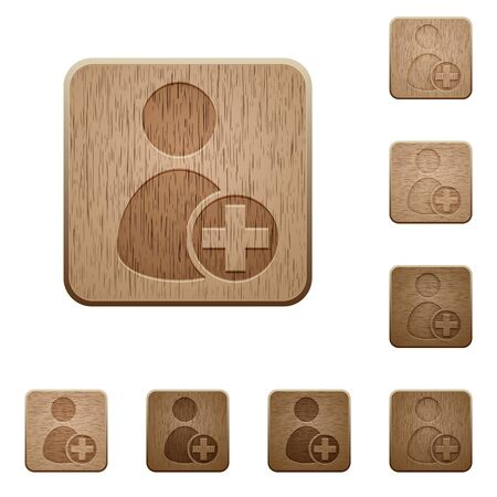 permissions: Set of carved wooden Add new user buttons in 8 variations.