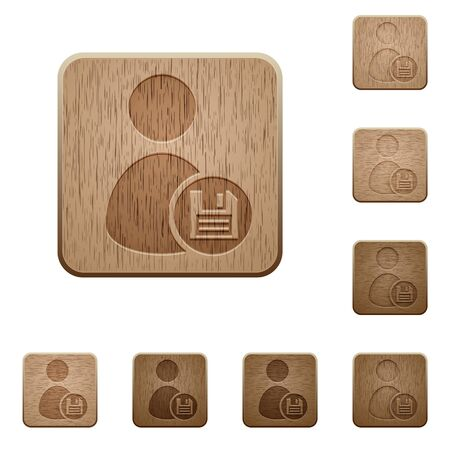 permissions: Set of carved wooden Save user profile buttons in 8 variations.