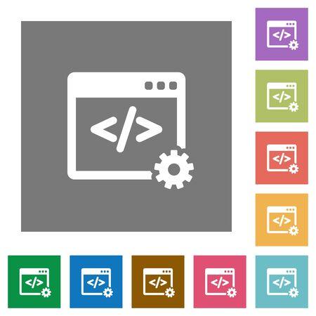 Web development flat icon set on color square background.