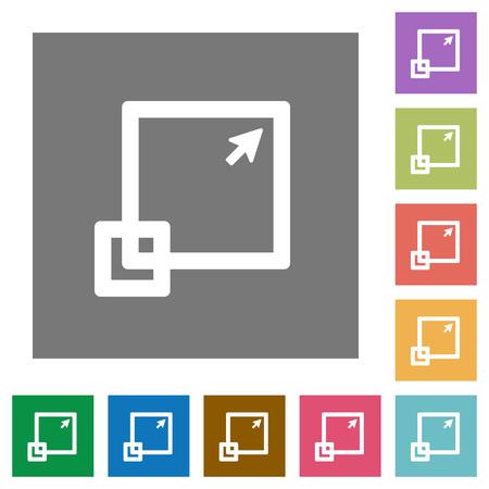 maximize: Maximize element flat icon set on color square background.