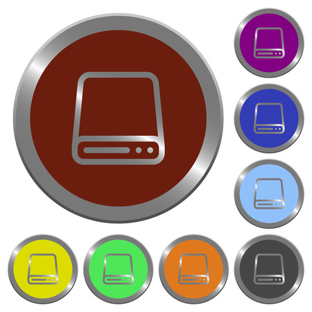 winchester: Set of color glossy coin-like hard disk drive buttons.