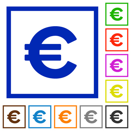 euro sign: Set of color square framed euro sign flat icons on white background