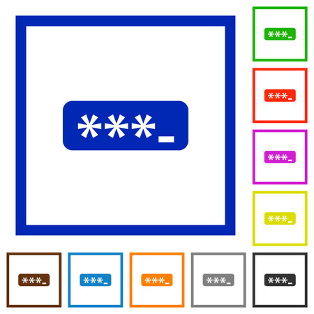 logon: Set of color square framed Password typing flat icons on white background