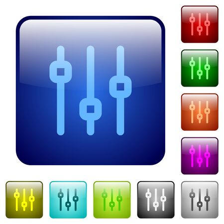 adjustment: Set of vertical adjustment color glass rounded square buttons Illustration