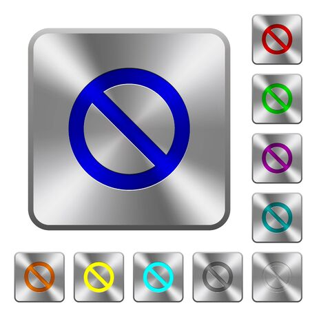 no edges: Engraved blocked icons on rounded square steel buttons