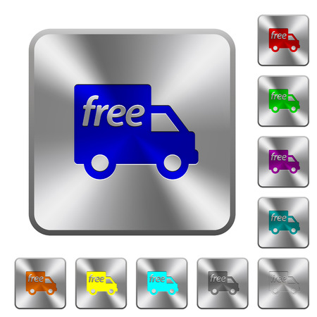 Engraved free shipping icons on rounded square steel buttons Illustration