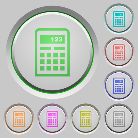 sunk: Set of color calculator sunk push buttons.