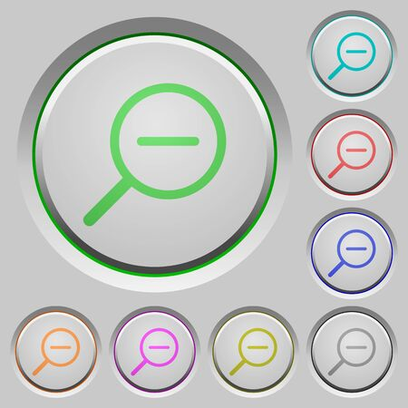 zoom out: Set of color Zoom out sunk push buttons.