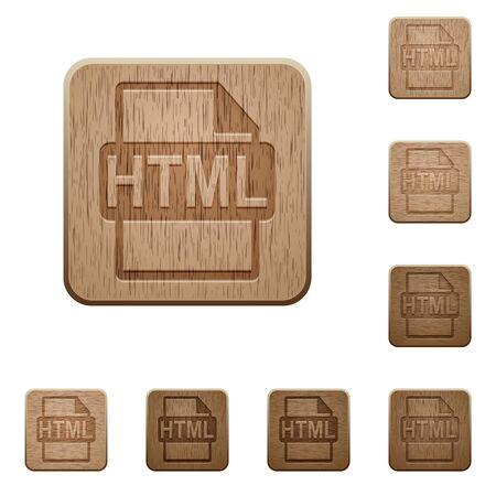 htm: Set of carved wooden HTML file format buttons in 8 variations. Illustration