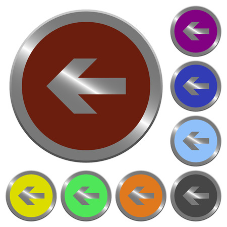 coinlike: Set of color glossy coin-like left arrow buttons.