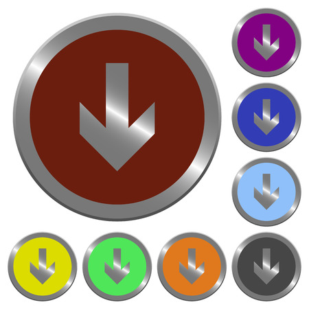coinlike: Set of color glossy coin-like down arrow buttons. Illustration